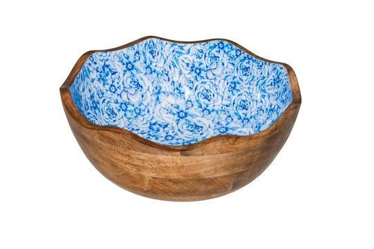 buffetschaal hout Essentials blauwe bloem binnenzijde Ø 30 x 11(h) cm
