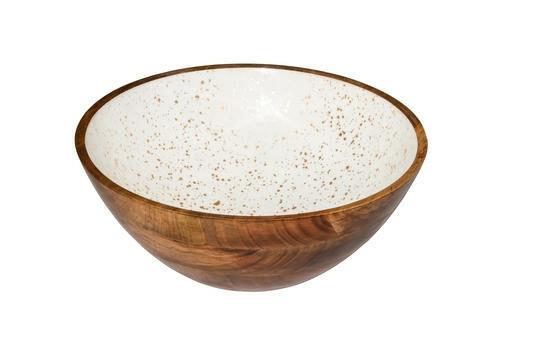 buffetschaal hout Essentials wit met goud binnenzijde Ø 30 x 10(h) cm