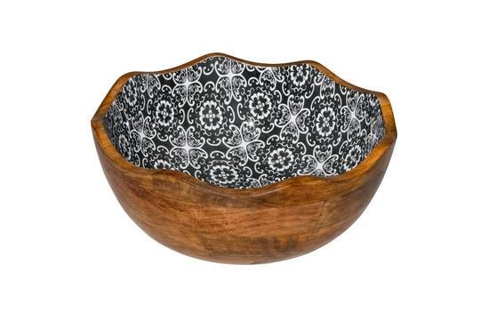 buffetschaal hout Essentials zwarte bloem binnenzijde Ø 30 x 11(h) cm