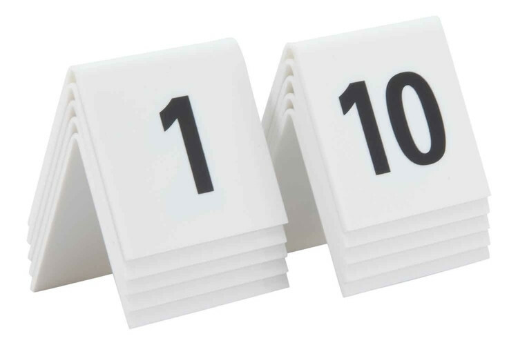 Securit tafelnummers 1 - 10 acryl 5,2 x 4,5 x 5,2(h) cm DOOS 10