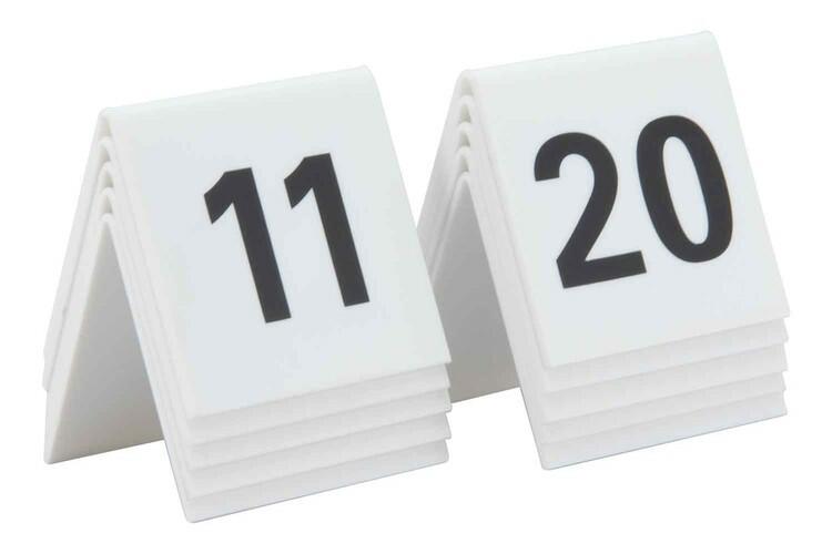 Securit tafelnummers 11 - 20 acryl 5,2 x 4,5 x 5,2(h) cm DOOS 10