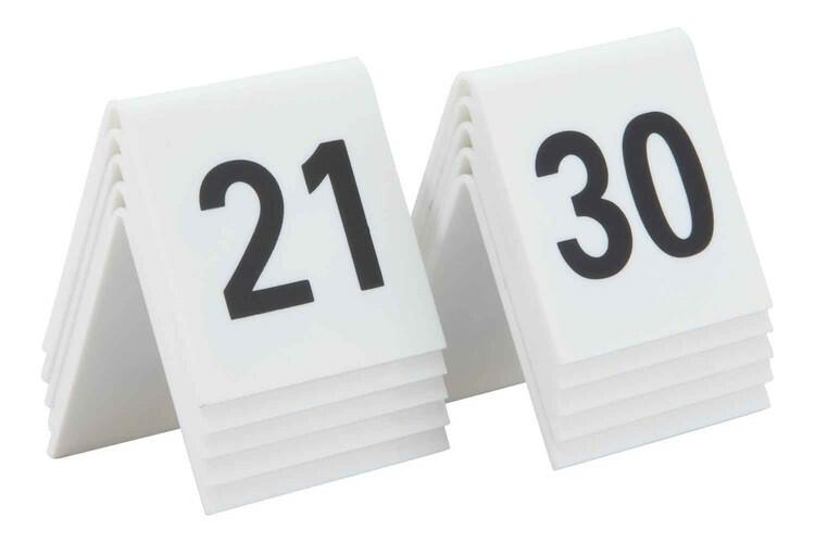 Securit tafelnummers 21 - 30 acryl 5,2 x 4,5 x 5,2(h) cm DOOS 10