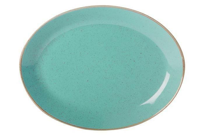 Porland Seasons Turquoise ovaal bord 31 x 24 cm