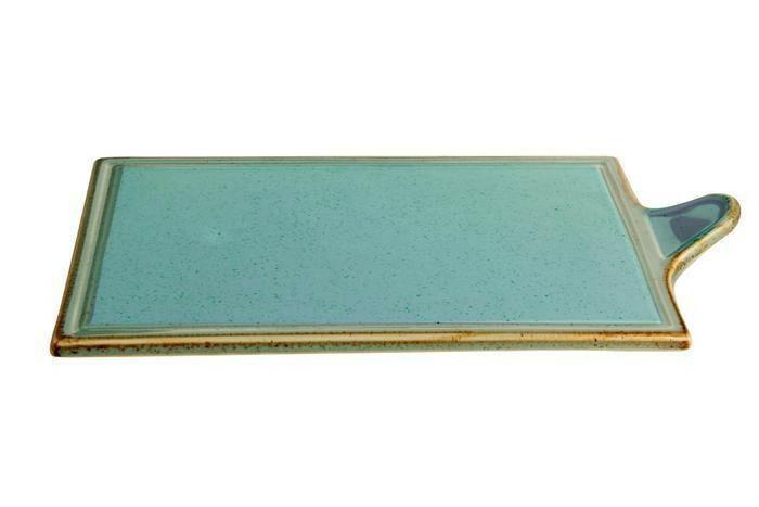 Porland Seasons Turquoise oblong bord met greep 30 x 18 cm