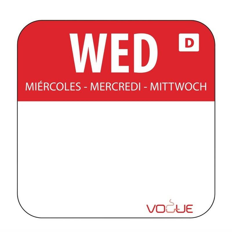 HACCP oplosbare sticker Wednesday 24 x 24 mm DOOS 1000