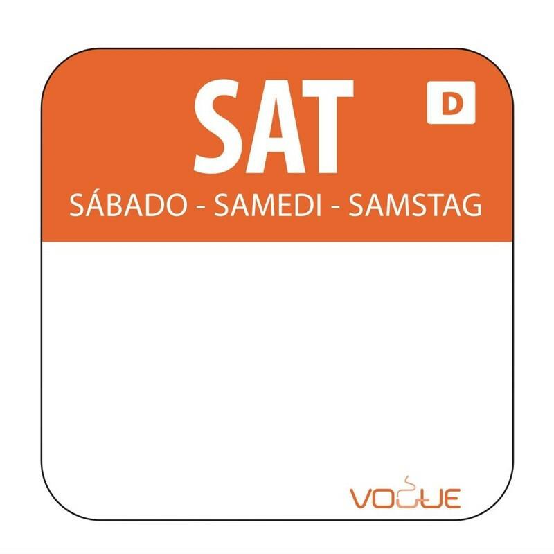HACCP oplosbare sticker Saturday 24 x 24 cm DOOS 1000